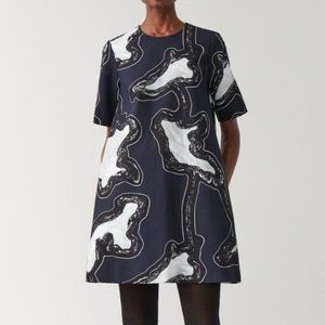 COS Blue Watercolor Abstract Print Shift Dress